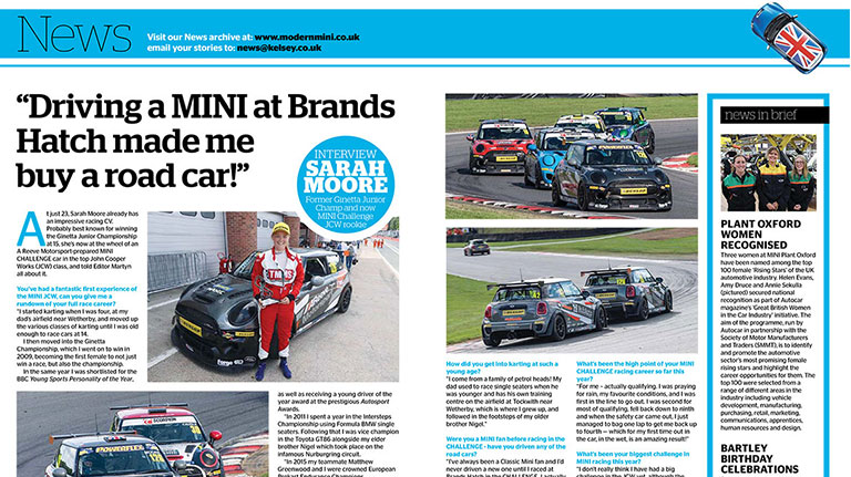 JCW DRIVER SARAH MOORE FEATURES IN MODERN MINI